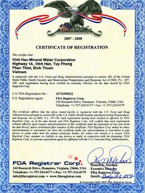 Chứng nhận đăng ký Công ty Vĩnh Hảo